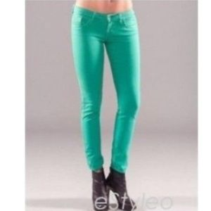 Guess Pants - Guess Skinny Ankle Jeans Slim Fit Med Rise Teal